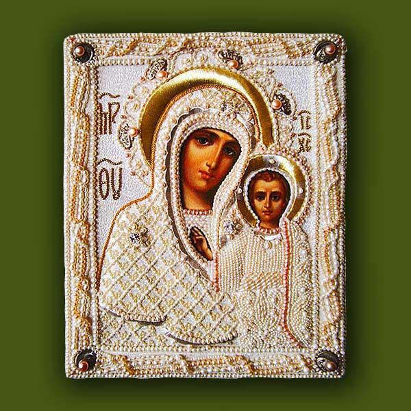 Вышитая жемчугом икона Казанской Божьей Матери от Нонны Ивановой
